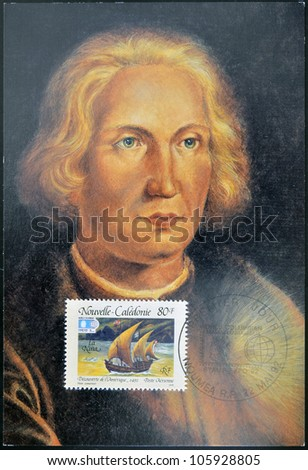 FRANCE - CIRCA 1992: A stamp printed in New Caledonia dedicated to discovery of America, shows the ship the Ni�±a and the portrait of Christopher Columbus, circa 1992