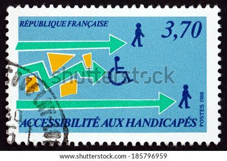 FRANCE - CIRCA 1988: a stamp printed in the France shows Aid to the Handicapped, circa 1988 - stock photo