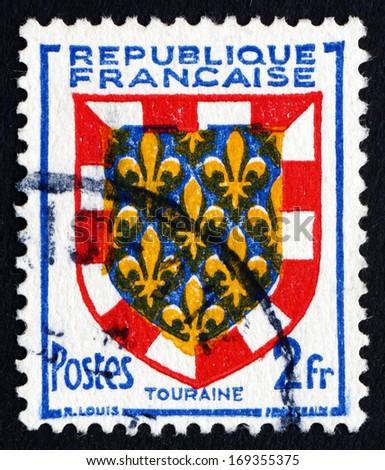 FRANCE - CIRCA 1951: a stamp printed in the France shows Arms of Touraine, circa 1951