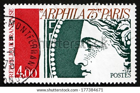 FRANCE - CIRCA 1975: a stamp printed in the France shows Ceres Goddes of Agriculture and Motherly Relationships, Ancient Roman Religion, circa 1975 - stock photo
