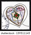 FRANCE - CIRCA 2004: a stamp printed in the France shows Chanel No. 5 Perfume Bottle, Valentine'??s Day, Heart, circa 2004 - stock photo