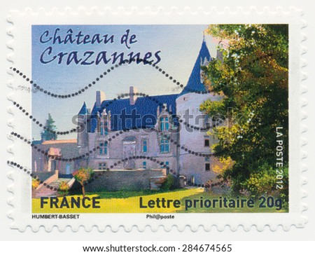 FRANCE - CIRCA 2012: a stamp printed in the France shows  Chateau Crazannes, circa 2012 - stock photo