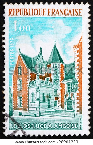 FRANCE - CIRCA 1973: a stamp printed in the France shows Clos Luce, Amboise, France, circa 1973