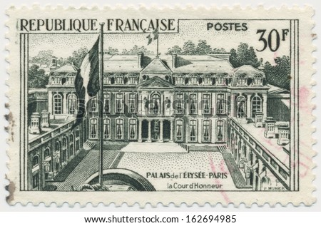 FRANCE - CIRCA 1959: a stamp printed in the France shows Elysee Palace, circa 1959
