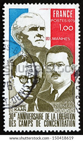 FRANCE - CIRCA 1975: a stamp printed in the France shows French Flag and French Resistance Leaders, Imprisoned in Concentration Camps, circa 1975