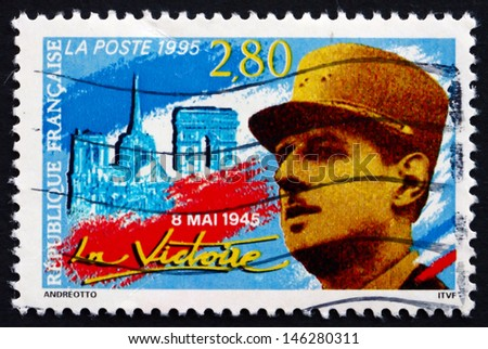 FRANCE - CIRCA 1995: a stamp printed in the France shows French Soldier, 50th Anniversary of the End of World War II, circa 1995 - stock photo