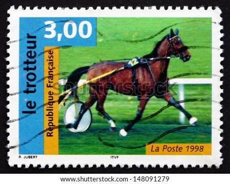 FRANCE - CIRCA 1998: a stamp printed in the France shows French Trotter, Horse, Race Horse, circa 1998