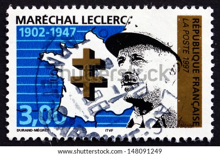 FRANCE - CIRCA 1997: a stamp printed in the France shows General Leclerc, Marshal of France, circa 1997 - stock photo