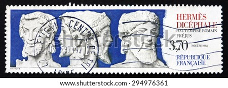 FRANCE - CIRCA 1988: a stamp printed in the France shows Hermes Dicephalus, Frejus, in Ancient Roman Religion Janus is the God of Beginnings and Transitions, circa 1988 - stock photo