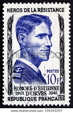 FRANCE - CIRCA 1957: a stamp printed in the France shows Honore d'??Estienne d'??Orves, Hero of the French Underground in World War II, circa 1957 - stock photo