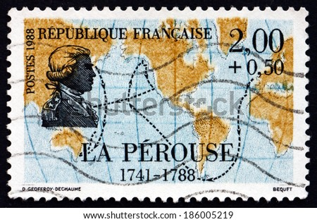FRANCE - CIRCA 1988: a stamp printed in the France shows Jean-Francois de Galaup, comte de La Perouse, French Explorer, Map, circa 1988 - stock photo