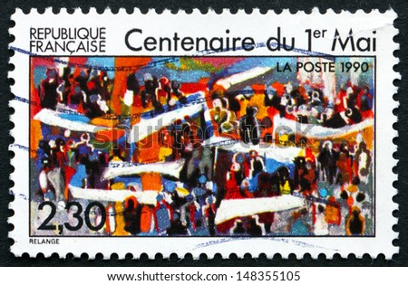 FRANCE - CIRCA 1990: a stamp printed in the France shows Labor Day, Centenary, circa 1990