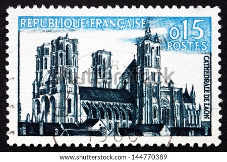 FRANCE - CIRCA 1960: a stamp printed in the France shows Laon cathedral, Laon, Picardy, France, Gothic Architecture, circa 1960