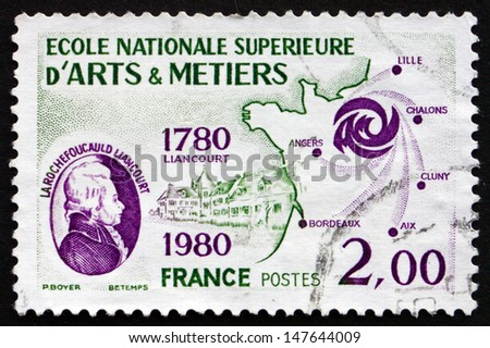 FRANCE - CIRCA 1980: a stamp printed in the France shows Larochefoucauld Liancourt and Map of Northwestern France, Bicentenary of National College of Arts and Handicrafts, circa 1980 - stock photo