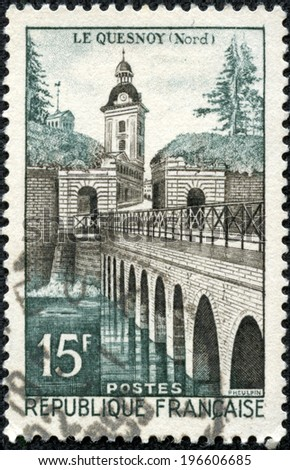 FRANCE - CIRCA 1957: a stamp printed in the France shows Le Quesnoy Bridge, circa 1957 - stock photo
