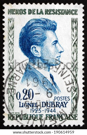 FRANCE - CIRCA 1961: a stamp printed in the France shows Lionel Dubray, Hero of the French Underground in World War II, circa 1961 - stock photo