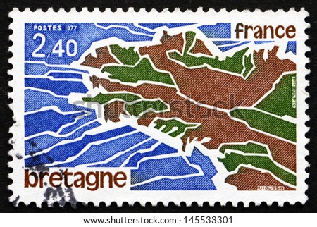 FRANCE - CIRCA 1977: a stamp printed in the France shows Map of Brittany, a Cultural Region in the North-west France, circa 1977 - stock photo