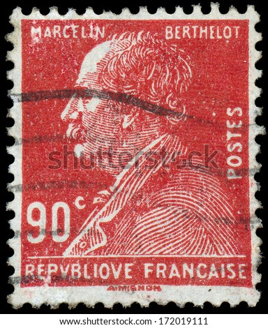 FRANCE - CIRCA 1927: a stamp printed in the France shows Marcelin Berthelot, circa 1927  - stock photo