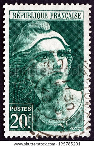 FRANCE - CIRCA 1945: a stamp printed in the France shows Marianne, National Emblem of the French Republic, circa 1945 - stock photo