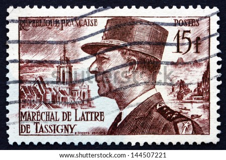 FRANCE - CIRCA 1952: a stamp printed in the France shows Marshal Jean de Lattre de Tassigny, French Military Hero of World War II, circa 1952 - stock photo