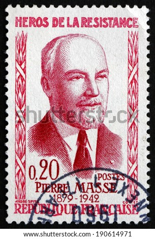 FRANCE - CIRCA 1960: a stamp printed in the France shows Pierre Masse, Hero of the French Underground in World War II, circa 1960 - stock photo