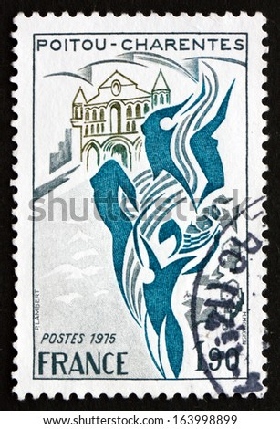 FRANCE - CIRCA 1975: a stamp printed in the France shows Poitou-Charentes, Region of France, circa 1975 - stock photo