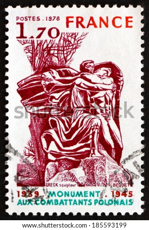 FRANCE - CIRCA 1978: a stamp printed in the France shows Polish Veterans'?? Monument, Trocadero Gardens, Paris, Polish Veterans of World War II, circa 1978 - stock photo