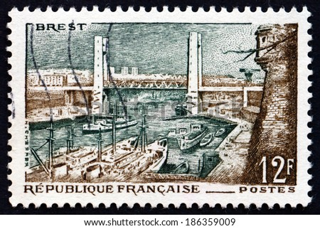 FRANCE - CIRCA 1957: a stamp printed in the France shows Pont de Recouvrance, Vertical-lift Bridge in Brest, France, across the River Penfeld, circa 1957