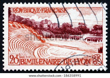 FRANCE - CIRCA 1957: a stamp printed in the France shows Roman Amphitheater, Lyon, City in the Rhone-Alpes Region, circa 1957 - stock photo