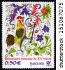 FRANCE - CIRCA 2003: a stamp printed in the France shows Rooster, France, 15th Century, Indian and French Artisan'??s Work, circa 2003 - stock photo