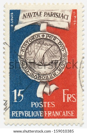 FRANCE - CIRCA 1951: a stamp printed in the France shows Seal of Paris 1415, circa 1951