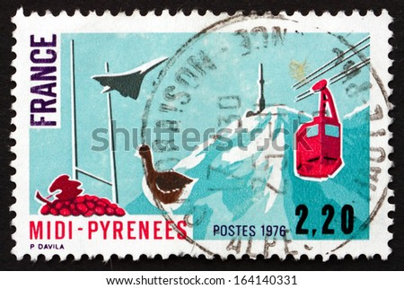 FRANCE - CIRCA 1975: a stamp printed in the France shows Southern Pyrenees, Region of France, circa 1975 - stock photo