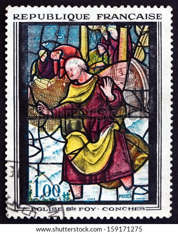 FRANCE - CIRCA 1963: a stamp printed in the France shows St. Peter, Window at St. Foy de Conches, circa 1963
