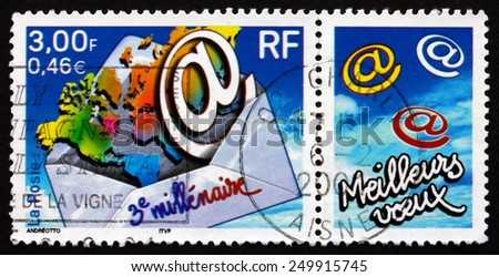 FRANCE - CIRCA 2000: a stamp printed in the France shows Start of the 3rd Millennium, circa 2000 - stock photo