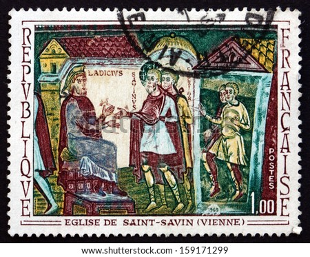 FRANCE - CIRCA 1969: a stamp printed in the France shows Sts. Savin and Cyprian before Ladicius, Mural, St. Savin, Vienne, circa 1969 - stock photo