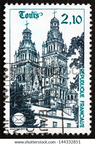 FRANCE - CIRCA 1985: a stamp printed in the France shows Tours Cathedral, National Philatelic Congress, Tours, circa 1985