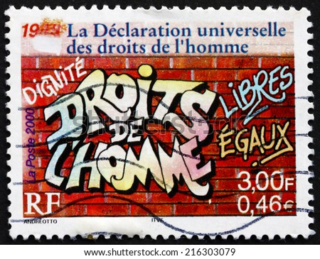 FRANCE - CIRCA 2000: a stamp printed in the France shows Universal Declaration of Human Rights, 1948, Graffiti on the Wall, circa 2000 - stock photo