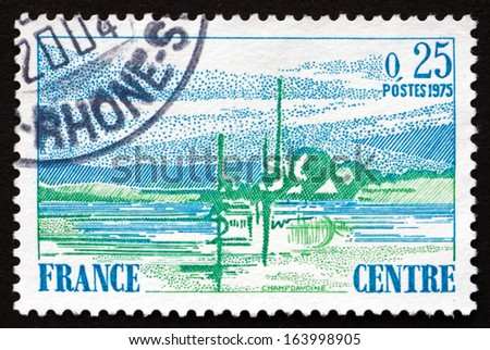FRANCE - CIRCA 1976: a stamp printed in the France shows View of Central France, Region, circa 1976 - stock photo