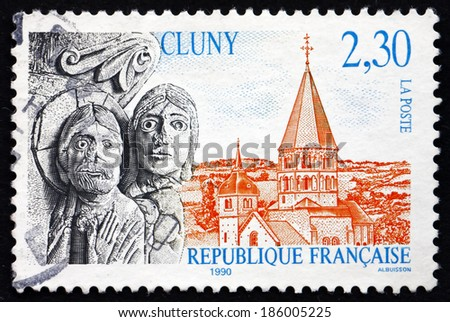 FRANCE - CIRCA 1996: a stamp printed in the France shows View of Cluny, Commune in the Saone-et-Loire Department of the Region Burgundy, circa 1996 - stock photo