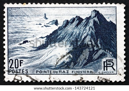 FRANCE - CIRCA 1946: a stamp printed in the France shows View of Pointe du Raz, Finistere, Peninsula in France, Popular Tourist Destination, circa 1946