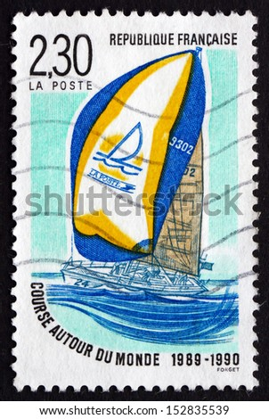 FRANCE - CIRCA 1990: a stamp printed in the France shows Whitbread Trans-global Yacht Race, Volvo Ocean Race around the World, circa 1990 - stock photo
