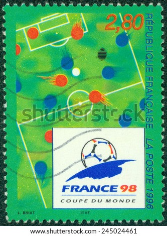FRANCE - CIRCA 1996: a stamp printed in the France shows 1998 World Cup Soccer Championships, France, circa 1996 - stock photo