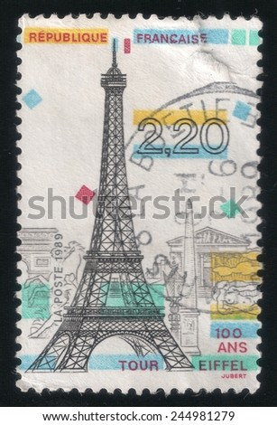 FRANCE - CIRCA 1989: postage stamp printed in France shows a commemorative drawing of Tour Eiffel, circa 1989 - stock photo