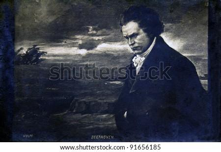FRANCE - CIRCA 1905: Postcard printed in France shows composer Ludwig van Beethoven, circa 1905 - stock photo