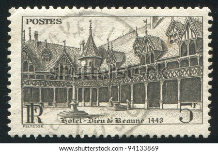 FRANCE - CIRCA 1941: stamp printed by France, shows Beaune Hospital, circa 1941