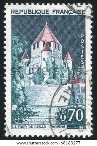 FRANCE - CIRCA 1964: stamp printed by France, shows Caesar?s Tower Provins, circa 1964