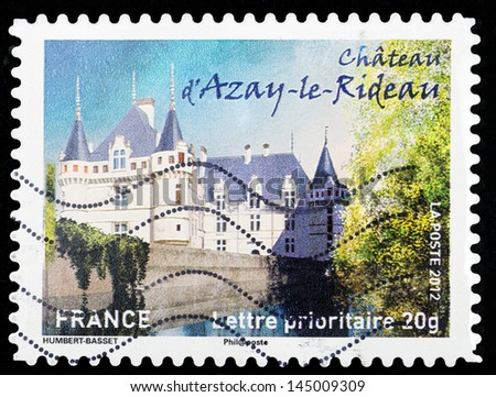 FRANCE - CIRCA 2012: stamp printed by France, shows Chateau d'Azay-le-Ridean, circa 2012