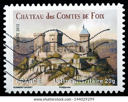 FRANCE - CIRCA 2012: stamp printed by France, shows Chateau de Comtes De Foix, circa 2012