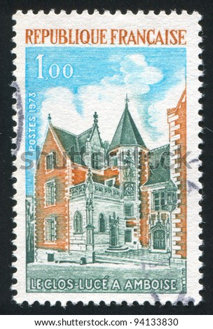 FRANCE - CIRCA 1973: stamp printed by France, shows Clos Luce, Amboise, circa 1973