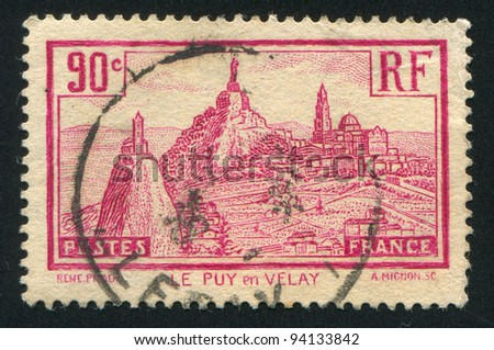 FRANCE - CIRCA 1933: stamp printed by France, shows Le Puy de Velay, circa 1933